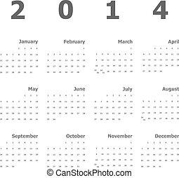 2014, kalender, weißer hintergrund