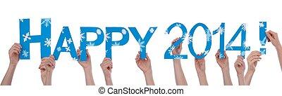 2014, mains, tenue, heureux