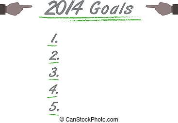 2014, metas, lista, isolado, branco