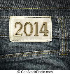 2014, moda, ano, -, calças brim