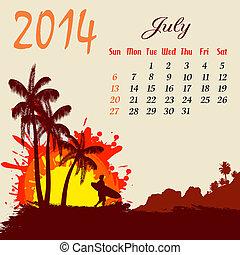 2014, naptár, július