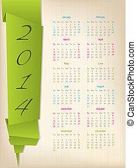 2014, naptár, noha, zöld, origami, nyíl