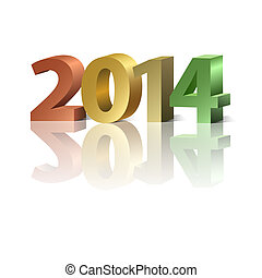 2014 New Year colorful number on the white background, vector illustration