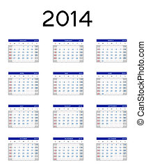 2014 new year calendar vector illustration