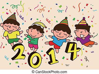 2014 New Year cartoon celebration