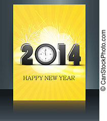 2014 new year celebration colorful gift card brochure vector background illustration