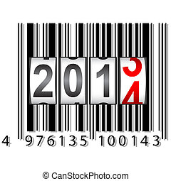 2014 New Year counter, barcode, vector.