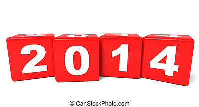 2014 New Year cubes. 3D illustration.