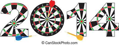 2014 New Year Dartboard with Darts Illustration