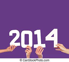 2014 New Year greeting card on purple
