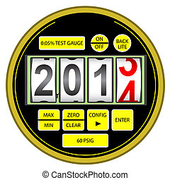 2014 New Year modern digital gas manometer isolated on white background