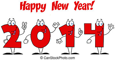 2014 New Year Numbers With Text
