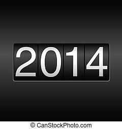 New Year 2014 design - odometer style. EPS8 file.