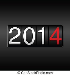 New Year 2014 design - odometer style with white and red numbers. EPS8 file.