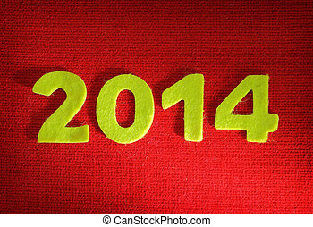 2014 new year on red wool background
