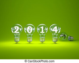 2014 New Year sign inside light bulbs