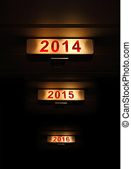 2014 new year sign on black background