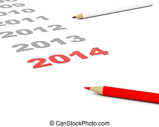 2014 New Year sign with pencils