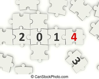 2014 New year symbol on puzzle
