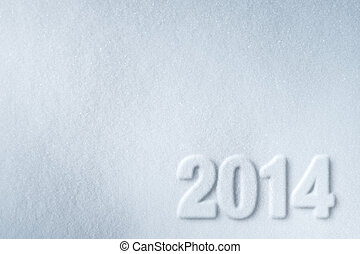 2014 new year symbol printed on snow background