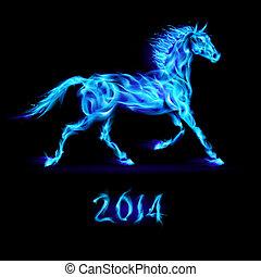 2014:, nieuw, horse., vuur, jaar