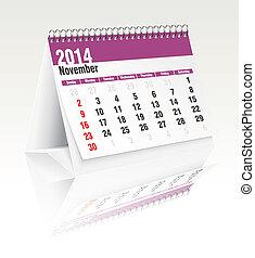 2014, november, kalender, bureau