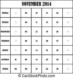 2014 NOVEMBER Planner Calendar