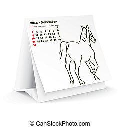 2014, novembre, cheval, calendrier, bureau