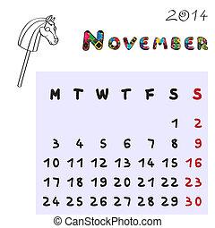 2014, novembre, cheval, calendrier