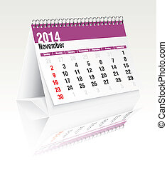 2014, noviembre, calendario, escritorio