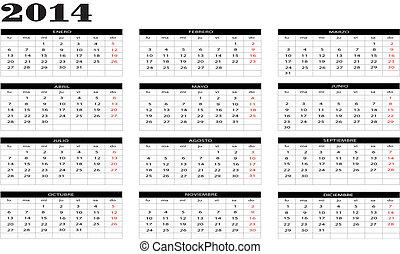 2014, nuevo, calendario