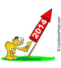 2014, nuevo, celebrar, cohete, año