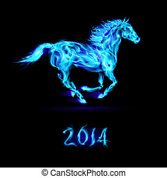 2014:, nuevo, horse., fuego, año