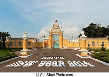 2014, nuevo, lunar, puerta, año