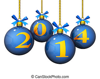 2014, nuevo, ornamentos, año