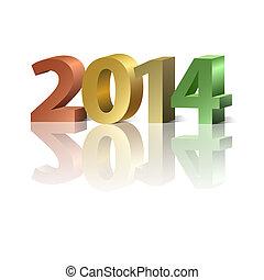 2014, nuevo, plano de fondo, año