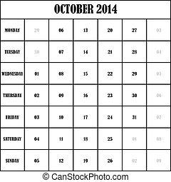 2014 OCTOBER Planner Calendar
