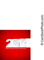 2014, original, /, tarjeta, ilustración, nuevo, vector, año