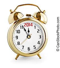 2014, orologio, allarme, anno, nuovo, esposizione