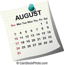 2014 paper calendar for August