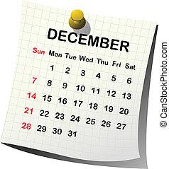 2014 paper calendar for December