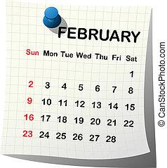 2014 paper calendar for February