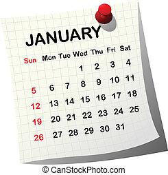 2014 paper calendar for January
