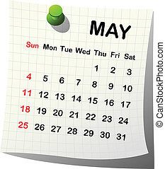 2014 paper calendar for May