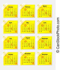 2014, Pegatina, calendario, amarillo