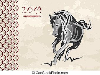 2014, pferd, neu , chinesisches , jahr