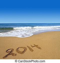 2014, pisemny, na, piaszczysta plaża