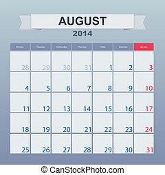 2014-planning, カレンダー, 8月
