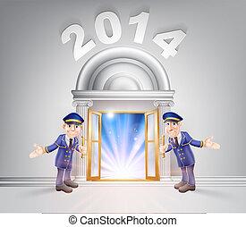 2014, portiers, porte, nouvel an