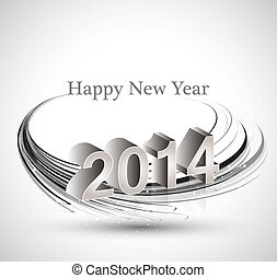 2014 reflection celebration for happy new year wave vector background